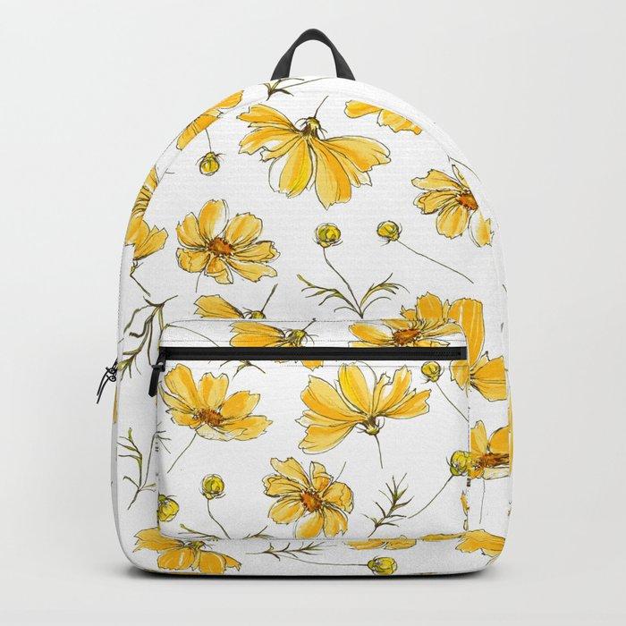 Yellow Cosmos Flowers Rucksack