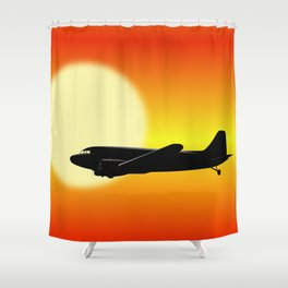 DC-3 passing sun Shower Curtain