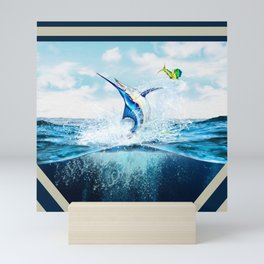 Blue Marlin Jumping After Mahi-Mahi (dolphin fish) Mini Art Print