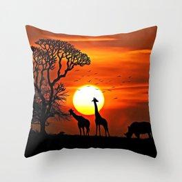 The African Dawn   Savannah Silhouettes - Watercolor Throw Pillow