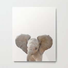 Baby Elephant, Baby Animals Art Prints by Synplus Metal Print