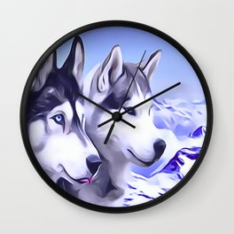 2 Siberian Huskies Wall Clock
