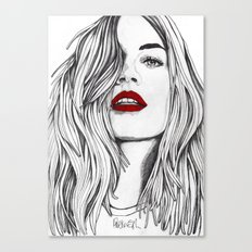 Girl with the Red Lips Canvas Print