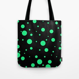 Green Bubbles On Black Tote Bag
