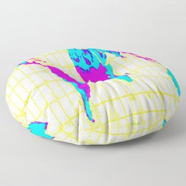 World Map: Gall Peters Colorful Floor Pillow