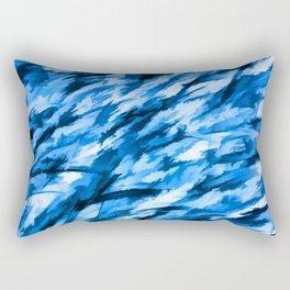 Blue Designer Camo Rectangular Pillow