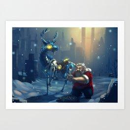 Santa and Robot Reindeer Art Print