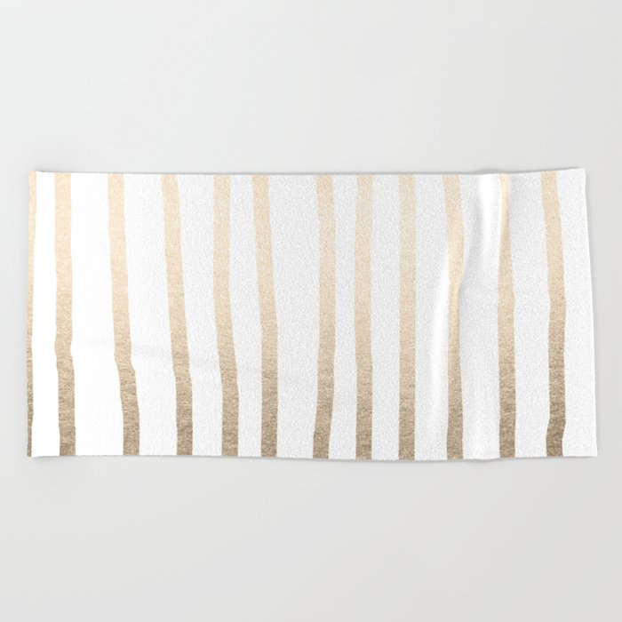 Simply Drawn Vertical Stripes in White Gold Sands Beach Towel