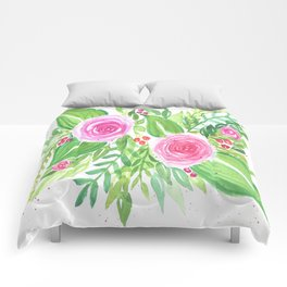 Spring Floral Pink Roses Green Leaves Watercolor Comforters
