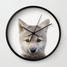 Baby Wolf, Baby Animals Art Print By Synplus Wall Clock