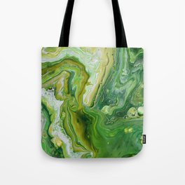Take Five Fluid Acrylic Pour Painting Green Yellow Tote Bag