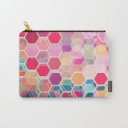 Rainbow Honeycomb - colorful hexagon pattern Carry-All Pouch