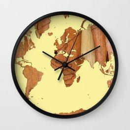 Wood bark - Yellow - Organic World Map Series Wall Clock