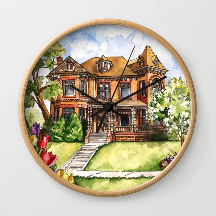 Victorian Mansion in the Spring Wall Clock