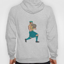 Stone Throw Highland Games Athlete Drawing Hoody