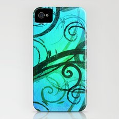 Blue Rustic Swirls iPhone (4, 4s) Slim Case