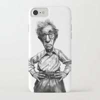 woody allen iPhone & iPod Cases featuring Woody Allen by MK-illustration