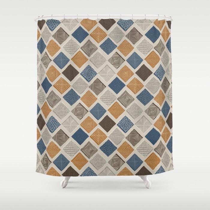 Tuscan Tiles Dark Orange And Gray Shower Curtain By Marketastengl