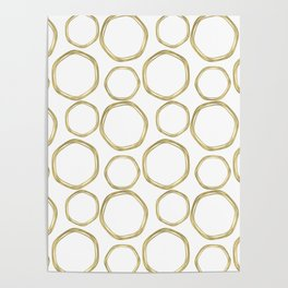 White & Gold Circles Poster