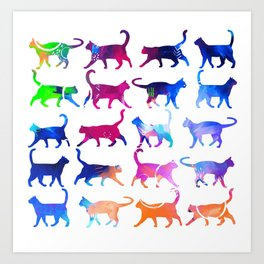 Colorful Cats Art Print