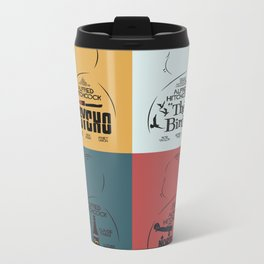 Four Hitchcock Movie Posters in One (Psycho, The Birds, North by Northwest, Notorious) Metal Travel Mug