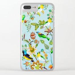 Colourful Birds Chintz Multicolour Clear iPhone Case
