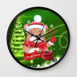 Merry Christmas Little Bear Wall Clock