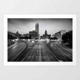Downtown Dallas Texas Black and White Skyline Art Print