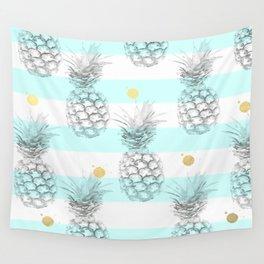 Pineapple express - aqua stripe gold splat Wall Tapestry