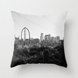 Minneapolis, Minnesota Black and White Skyline Throw Pillow