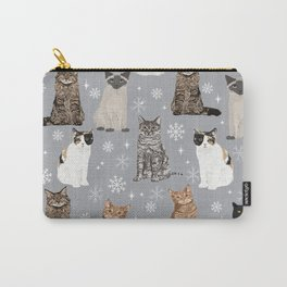 Cat breeds snowflakes winter cuddles with kittens cat lover essential cat gifts Carry-All Pouch