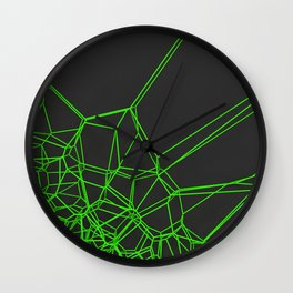 Green voronoi lattice on black background Wall Clock