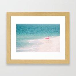 Pink Flamingo Beach Framed Art Print