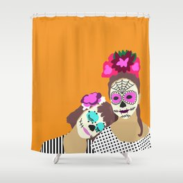Sugar Skull Halloween Girls Orange Shower Curtain
