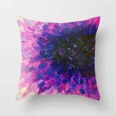 VACANCY - LIMITLESS Bold Eggplant Plum Purple Abstract Acrylic Painting Floral Macro Colorful Void Throw Pillow