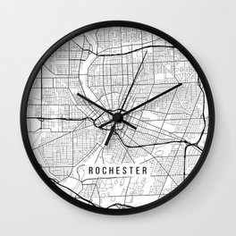 Rochester Map, USA - Black and White Wall Clock