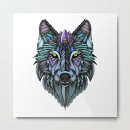 Ornate Wolf (Full Colored) Metal Print