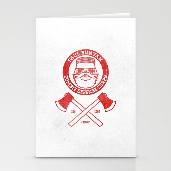 Paul Bunyan Zombie Defense Corps Stationery Cards