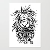 virgo Canvas Prints featuring Virgo by Anna Shell