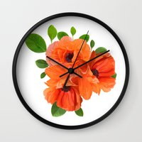 poppies Wall Clocks featuring Poppies by Heaven7