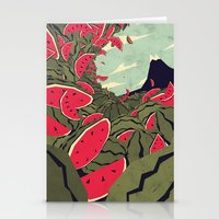 watermelon Stationery Cards featuring Watermelon surf dream by Yetiland