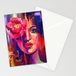 Lady with flower 2 Stationery Cards