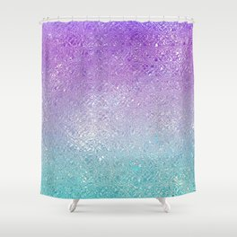 Indecent glass shiny purple to turquoise ombre Shower Curtain