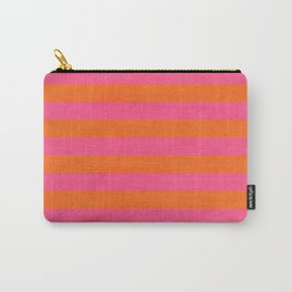 hot pink and orange stripes Carry-All Pouch