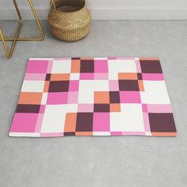 Santelmo - Colorful Pink Purple Pixel patchwork Pattern Rug
