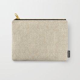 Vintage Wallpaper Pattern Beige Floral Elegant Damask Carry-All Pouch