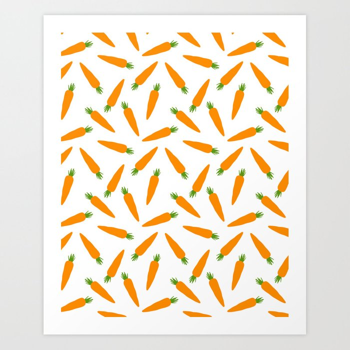 CARROT CARROTS VEGGIE FOOD PATTERN Art Print