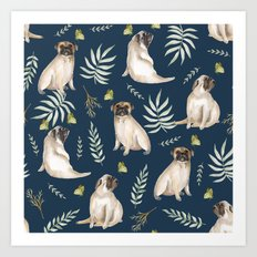 Pugs and butterflies. Blue pattern Art Print
