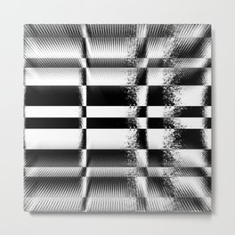 Black and White Abstract Structure Metal Print