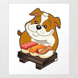 Chibi Anime Bulldog  Sushi Lover Art Print